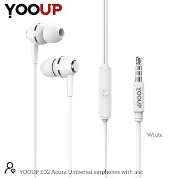 YOOUP E02 Acura univerzális fülhallgató mikrofonnal (fehér)